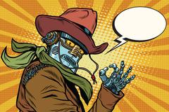 Steampunk robot cowboy okay gesture Stock Illustration