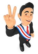 3D Political election winner. President Stock Illustration