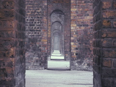 One door inside the set of arches. Stock Footage