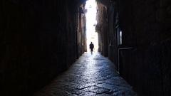 Elder alone in a dark alley Stock Footage