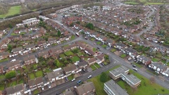 Panoramic aerial view of a British housing estate. Stock Footage