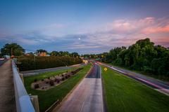 Long exposure of traffic on the Andrew Jackson Highway from the Central Ave.. Stock Photos