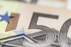 Any Euro banknotes in detail. Stock Photos