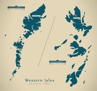 Modern Map - Western Isles UK Scotland illustration Stock Illustration