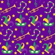 Mardi Gras Carnival seamless pattern with mask feathers, beads.   endless b.. Stock Illustration