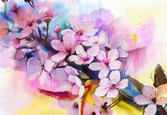 Watercolor Painting Cherry blossoms - Japanese cherry - Pink Sakura floral Stock Illustration