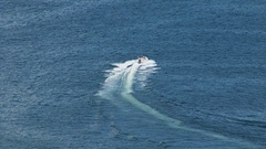 Speed boat with white trail Stock Footage
