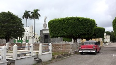 Aged red Chevrolet at the Havana Colon Cemetery. Cuba Stock Footage