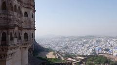 View of Mehrangarh Fort in Jodhpur, Rajasthan, India Stock Footage