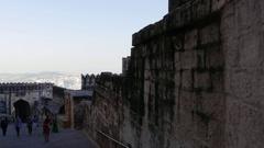 Tourists in Mehrangarh Fort in Jodhpur, Rajasthan, India Stock Footage