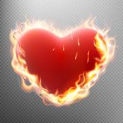 Vlentine s day concept. Heart in flame. EPS 10 Stock Illustration