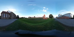 Virtual Reality 360 view from the Kaunas castle Stock Footage