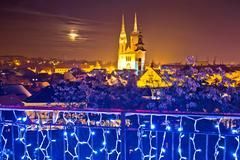 Zagreb cathedral evening advent view Stock Photos