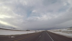 Wide Angle POV Driving Shot - Semi-Truck Passing in Wyoming, USA Stock Footage