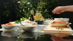 4k video. Cook preparing steak red fish Stock Footage