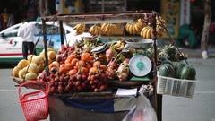 Fruit tent on wheels summer Stock Footage