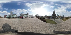 Virtual Reality 360 view from Palace of Culture and Science Stock Footage