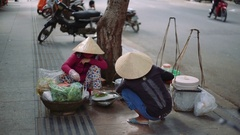 Vietnamese saleswoman fruit. sitting on the side of the road. make rolls Stock Footage