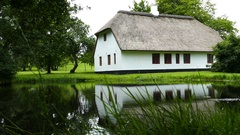 Beautiful house near a lake Stock Footage