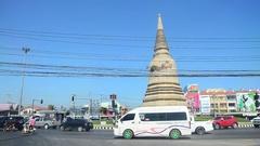 Traffic road in Ayutthaya, Thailand Stock Footage