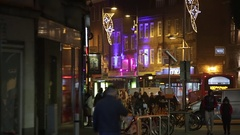 Christmas in England: typical street in the city Stock Footage