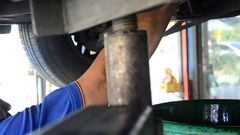 Thai mechanic people maintenance change oil, Oil Filter and Check availability Stock Footage