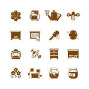 Bee hive, honey, honeycomb vector icons Stock Illustration