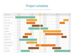 Project schedule chart, overview planning timeline vector diagram Stock Illustration