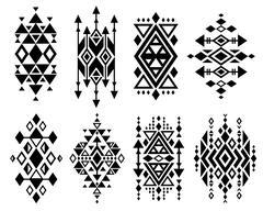 Vintage mexican aztec tribal traditional vector logo design, navajo prints set Stock Illustration
