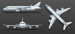 Aircraft, airplane, airliner in different point of view vector set Stock Illustration