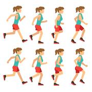 Running woman, female runner animation frame loop sequence Stock Illustration