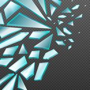 Window with transparent broken glass shards vector background Stock Illustration