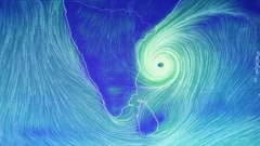 Graphic Hurricane hitting the Indian Coast Stock Footage