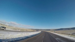 Time Lapse Wide Angle POV Driving Shot -  Rawlins, Wyoming, USA in Winter Stock Footage