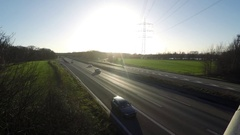 Sunset at German Autobahn / Highway - Time lapse Stock Footage