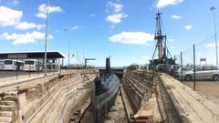 Barracuda Submarine Navy Museum In Almada, Portugal Stock Footage