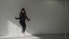 Graceful girl practicing contemp in studio, she performing the elements of dance Stock Footage