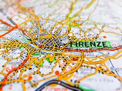 Firenze city over a road map (ITALY) Stock Photos