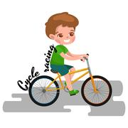 Boy cycling, racing kids sport, physical activity vector illustration Stock Illustration