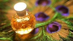 Perfume bottle with golden cap Stock Footage