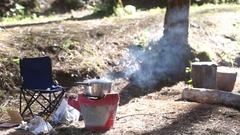 Fire for cooking on camping in forest. Stock Footage