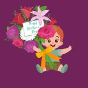 Vector illustraion greeting cart baby boy Happy Mothers Day Stock Illustration