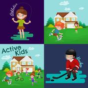 Kids sport, isolated boy and girl playing active games vector Stock Illustration