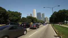 Drive shot, Lake Shore Drive, with Chicago looming in the background Stock Footage