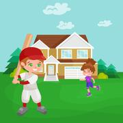 Happy boy playing baseball, kids sport, childrens activity vector illustratio Stock Illustration