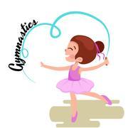 Happy Girl gymnast with blue ribbon, Kids sport, active children Stock Illustration