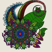 Hand drawn Mandala, circular colored pattern for decoration Stock Illustration