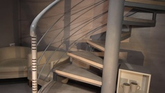 Woman and man going down stairs holding hands. Couple on a spiral staircase Stock Footage