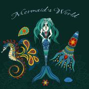Hand drawn Ornamental Mermaid, sea-horse and calmar. Fairy-tale illustratio.. Stock Illustration