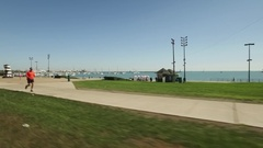 Driving along a beach on the Southside of Chicago. Stock Footage